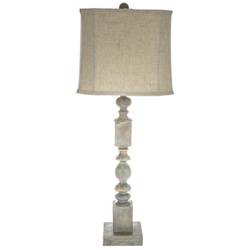Blue Wash Textured Wood Lamp With Square Shade